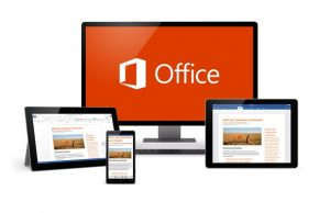 Image of monitor with Office 2016 logo